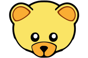 Yellow cute teddy clip. Bear clipart face