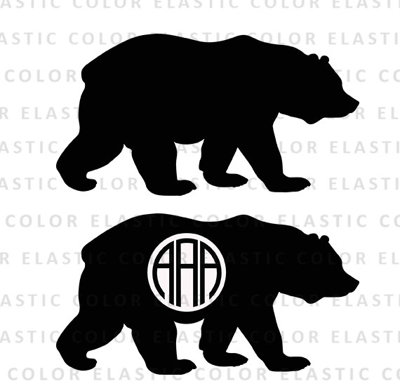 Bear clipart file. Svg monogram digital download