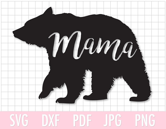 Bear clipart file. Instant download mama svg