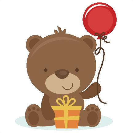 Bear clipart file. Birthday svg cut files