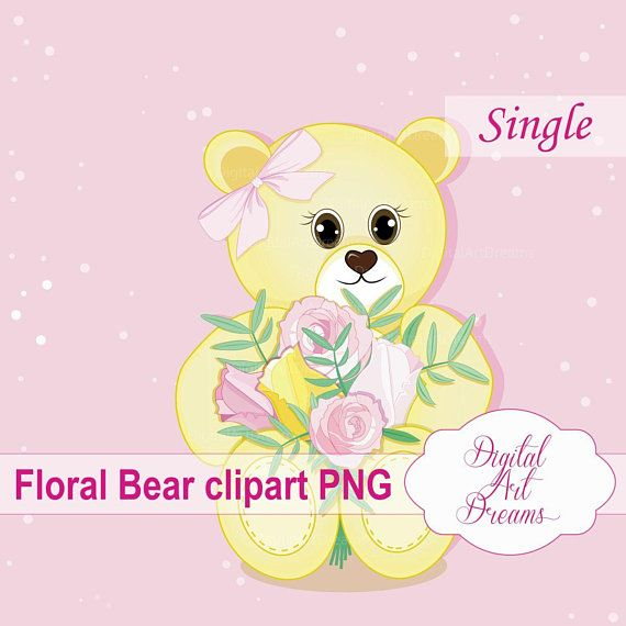 Bear clipart floral. Roses birthday graphics teddy