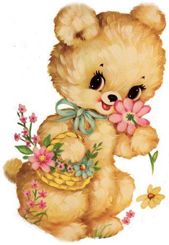 Bear clipart floral.  best vintage baby