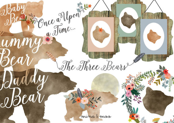 off sale watercolour. Bear clipart floral