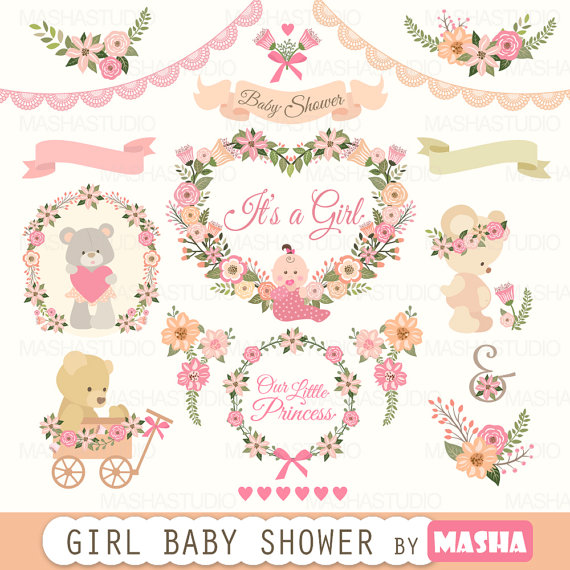 Baby shower girl with. Bear clipart floral