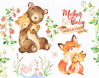 Bear clipart floral. Woodland friends watercolor animals