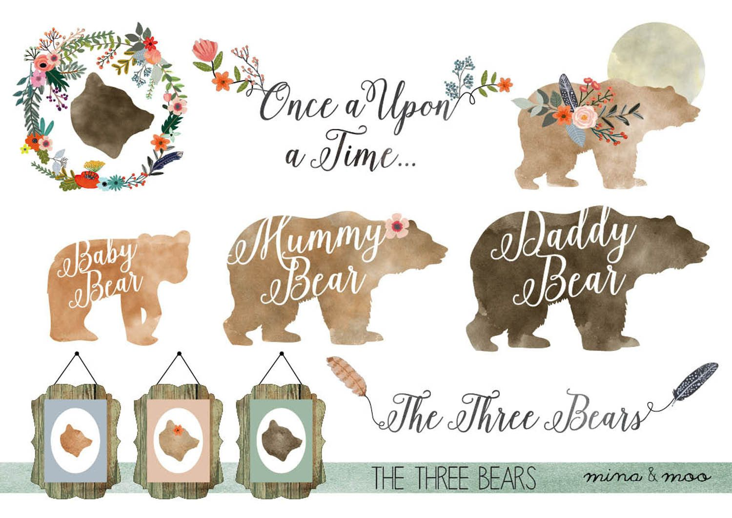 Floral bear family print. Woodland clipart rustic baby