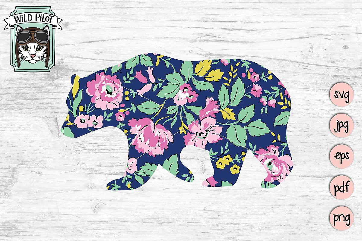 Silhouette clip art sublimation. Bear clipart floral