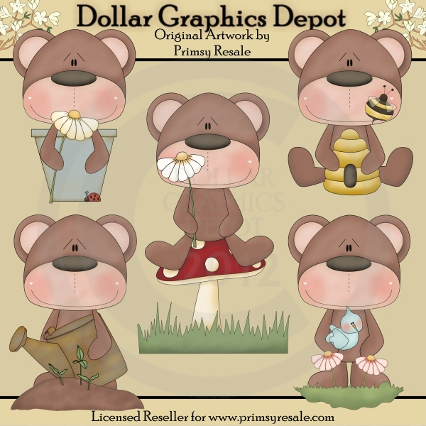 Clipart bear garden. Bears clip art dollar