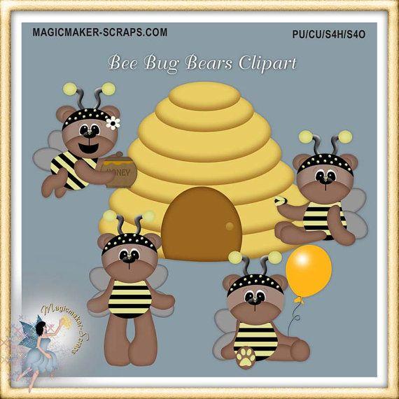 Honey bee teddy bears. Bear clipart garden