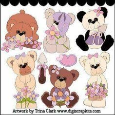 Baby cartoon clip art. Bear clipart garden