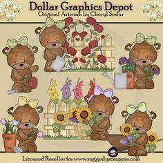 Bear clipart garden. Teddy clip art t