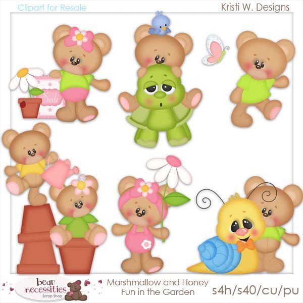 Marshmallow and honey fun. Bear clipart garden