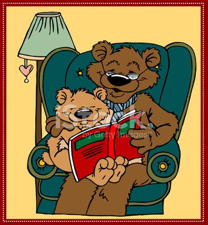 Bear clipart grandpa. Reading with stock vector