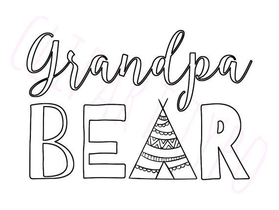 Digital art boho tribal. Bear clipart grandpa