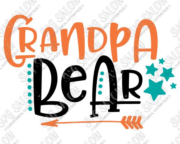 Bear clipart grandpa. Svg cut file set