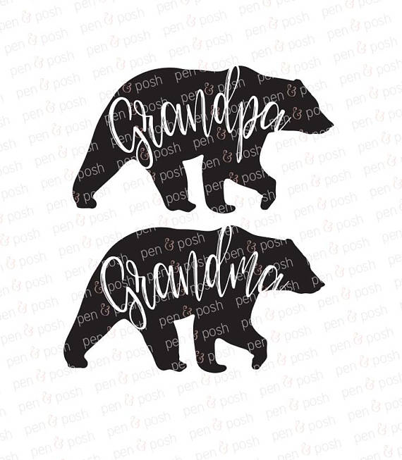 Grandma svg mama papa. Bear clipart grandpa