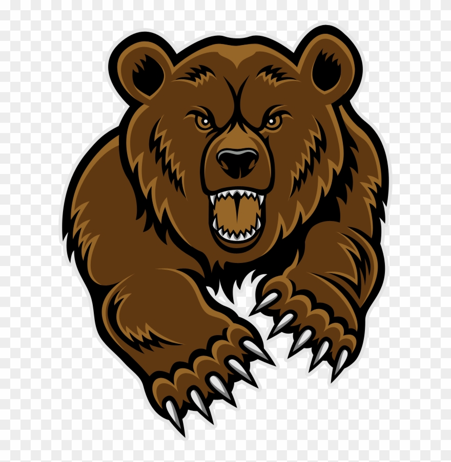 Bears clipart grizzly bear. Mascot head clip art