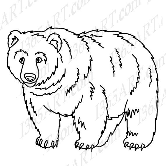 Line drawing at getdrawings. Bear clipart grizzly bear