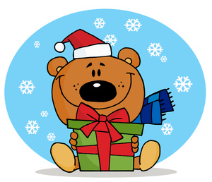 Bear clipart holiday. Free gift giving clip