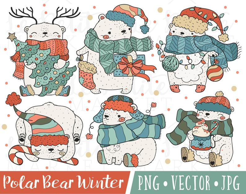 Images vintage christmas cute. Bear clipart holiday