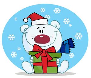 Free winter clip art. Bear clipart holiday