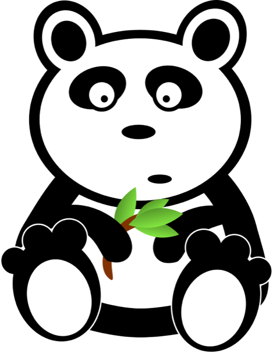 Cute panda bear animations. Surprise clipart black and white
