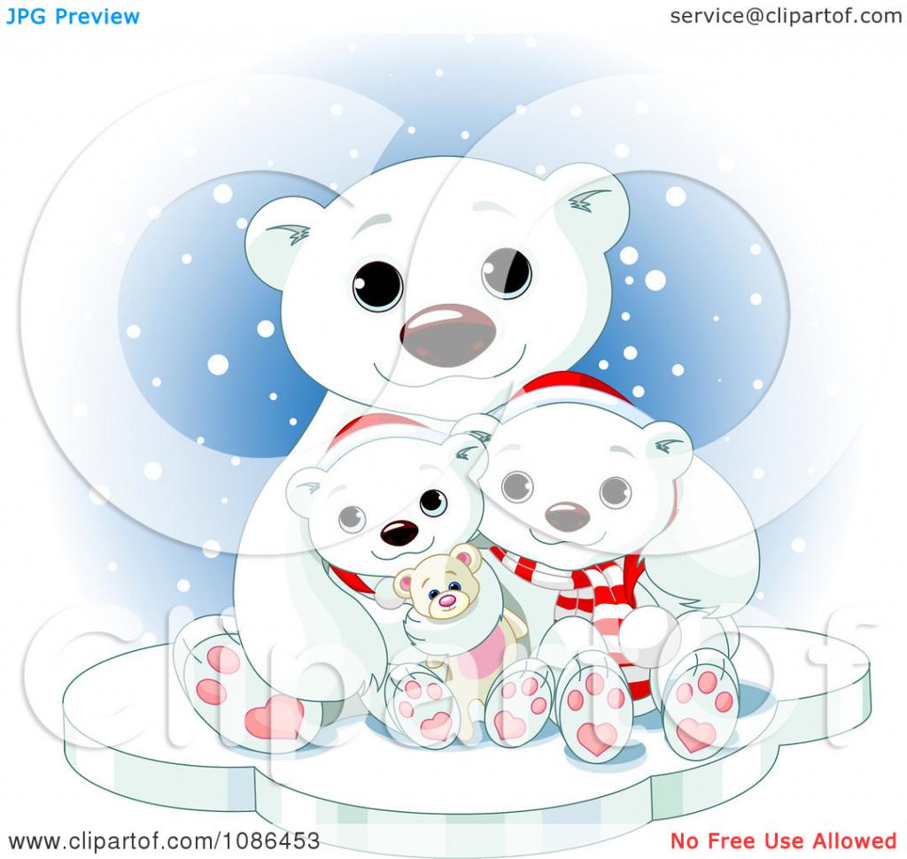 Cute polar drawing. Bear clipart kid