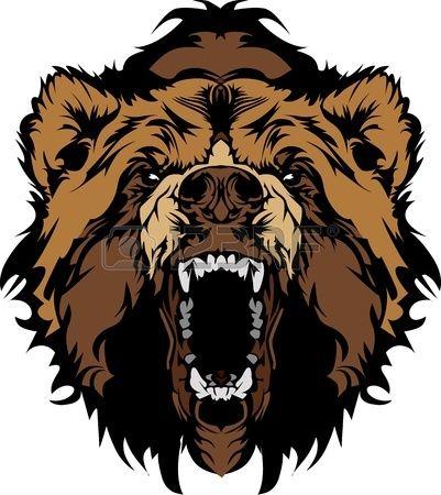 Grizzly mascot head vector. Bear clipart logo