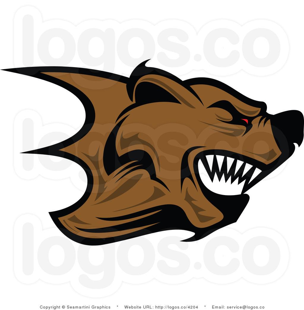 Royalty free angry logo. Bear clipart mad bear