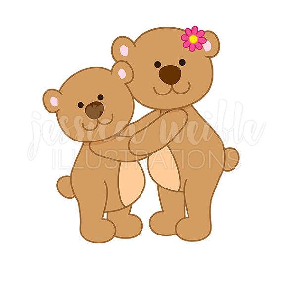 Bear clipart mothers day. Mama hug cute digital