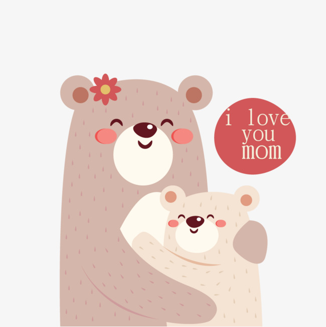 Bear clipart mothers day. Cute two bears mother
