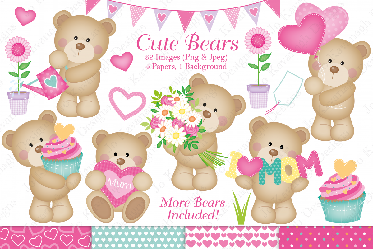 Bear clipart mothers day. Cute graphics illustrations bea