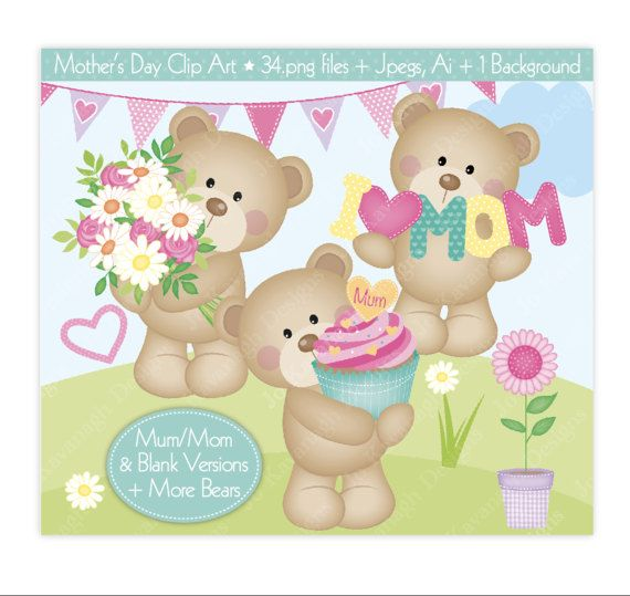 Clip art cute by. Bear clipart mothers day