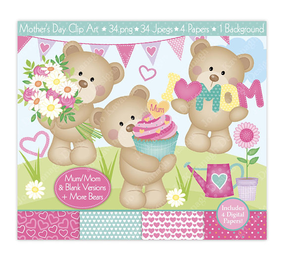 Heart digital papers clip. Bear clipart mothers day