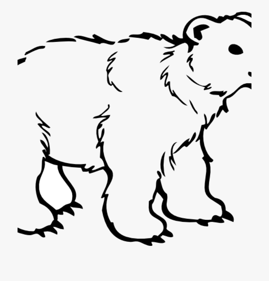 Bear clipart outline. Black and white clip