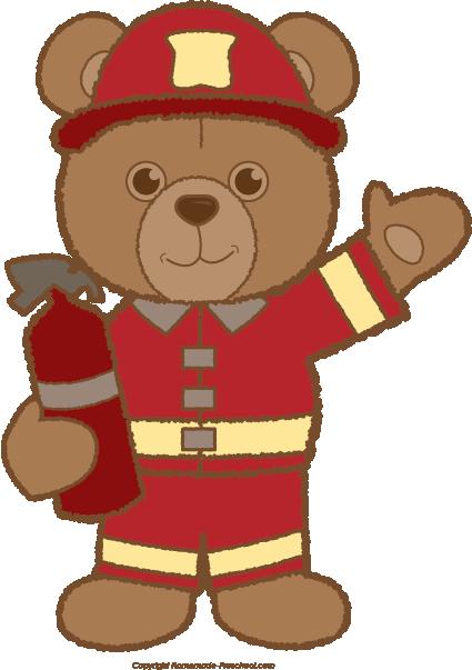 Teddy fireman free homeschool. Bear clipart preschool