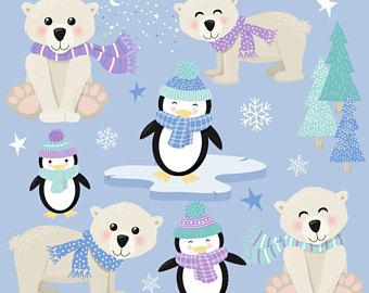 Etsy polar penguin clip. Bear clipart printable