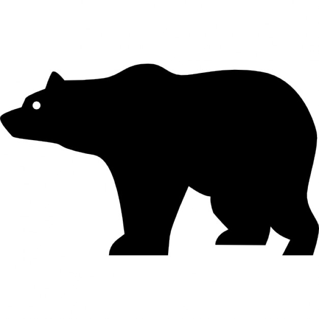 Bear clipart silhouette. Side view icons free