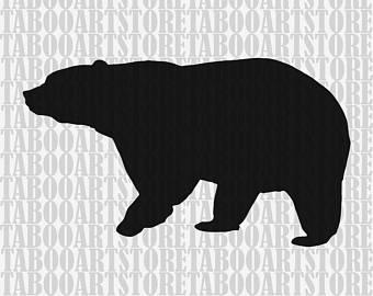Bear clipart silhouette. Svg file digital cut