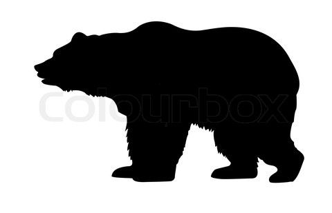 Bear clipart silhouette. Black and white stock