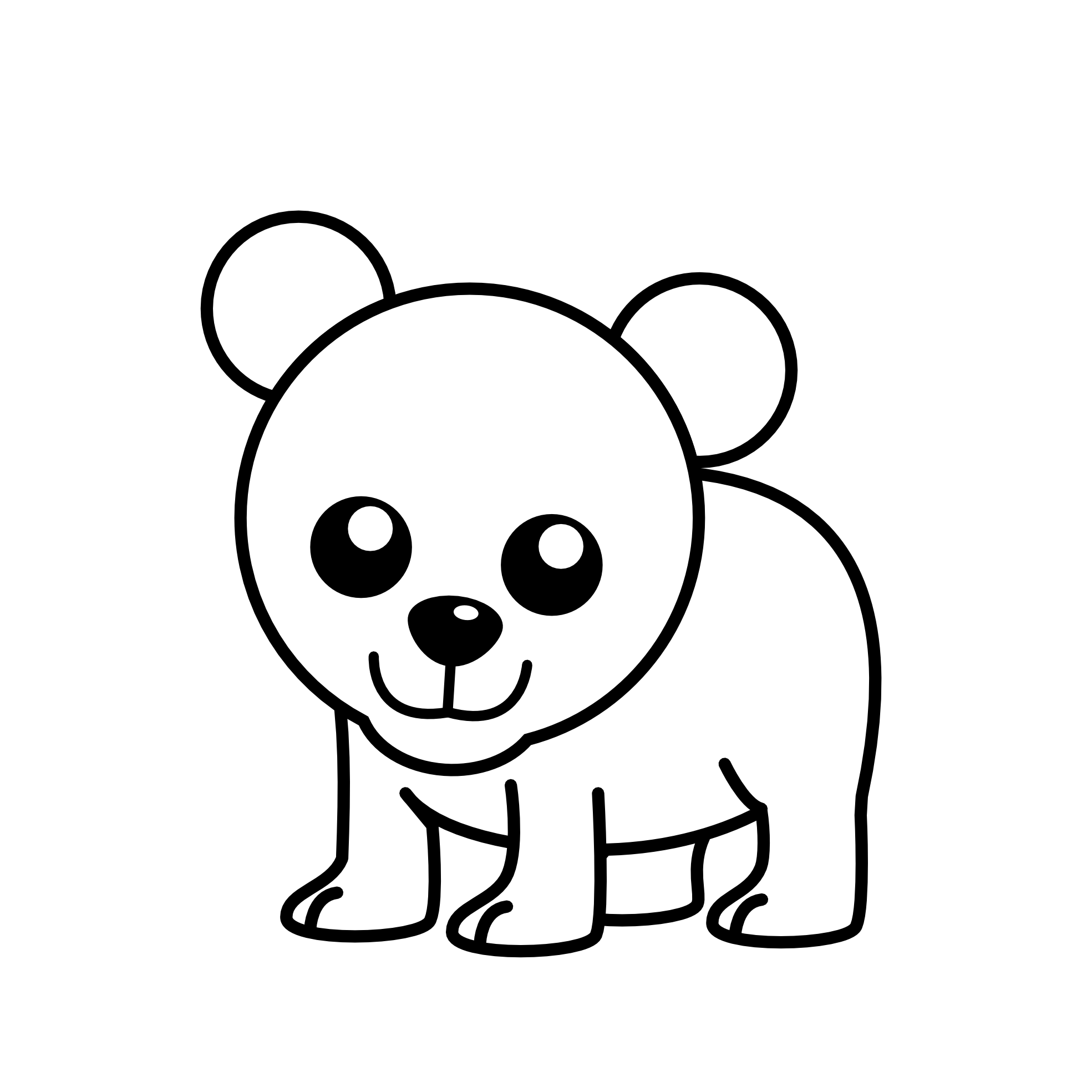 Simple polar bear pencil. Fridge clipart black and white