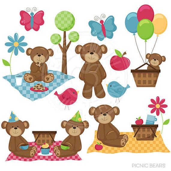Picnic bears cute digital. Bear clipart summer