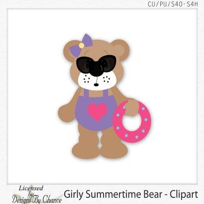 Bear clipart summer. Girly dbk