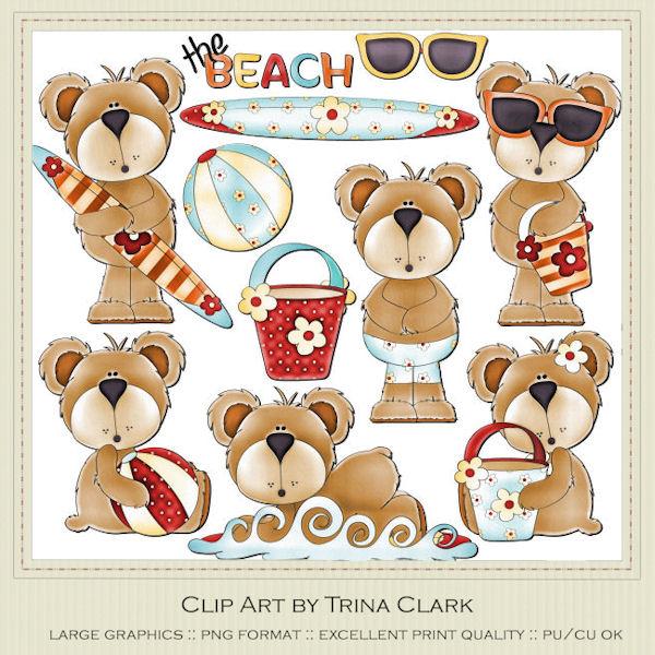 Season clip art designs. Bear clipart summer