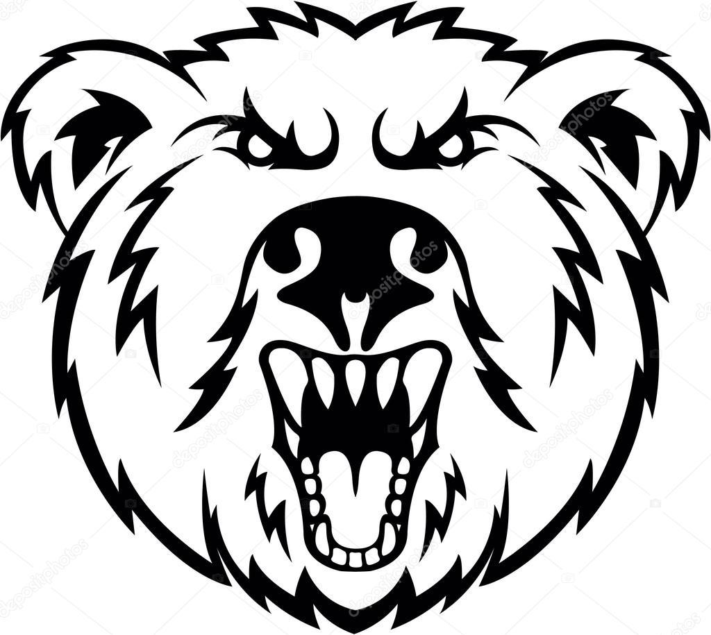 Black head drawing at. Bear clipart symbol
