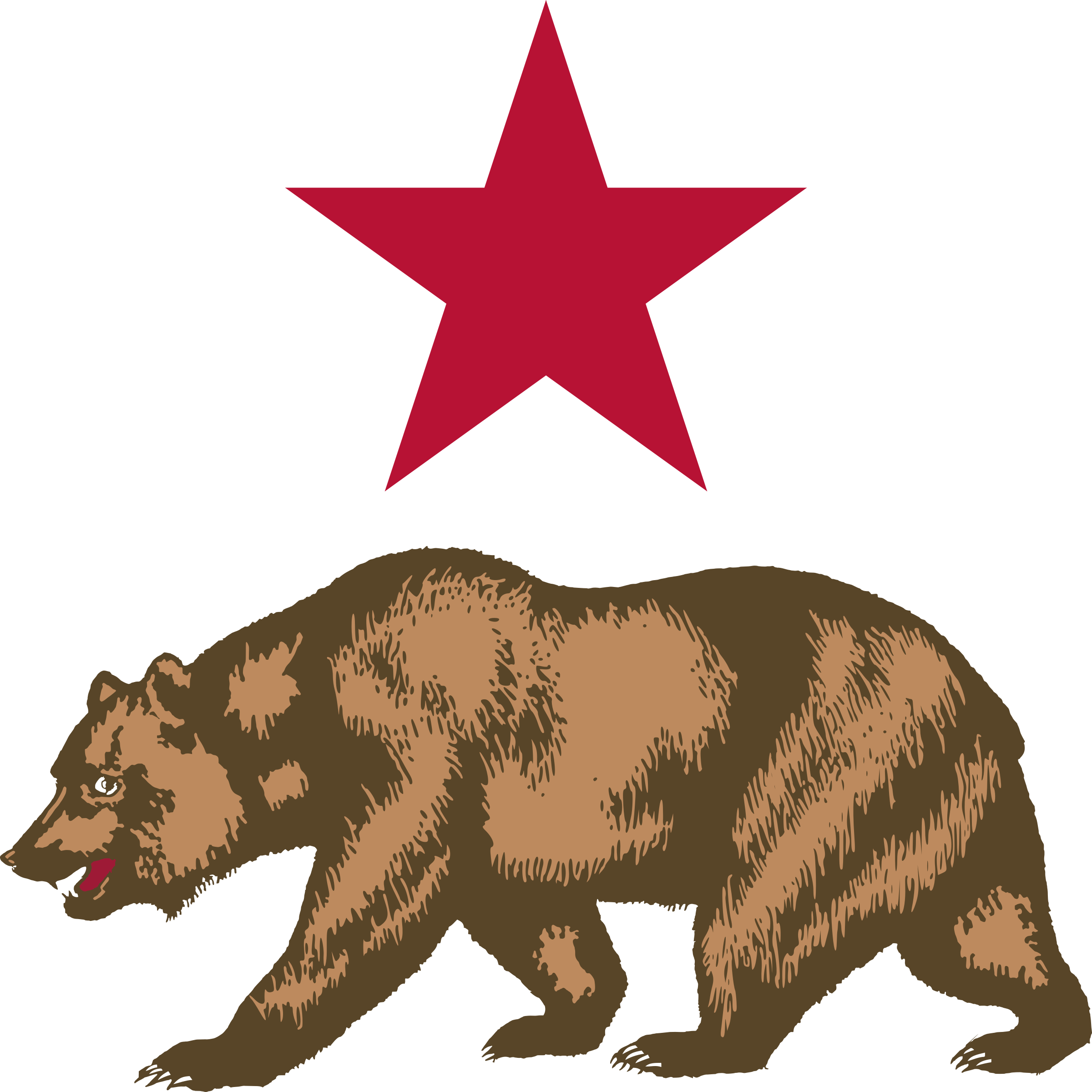 California star and icons. Bear clipart symbol