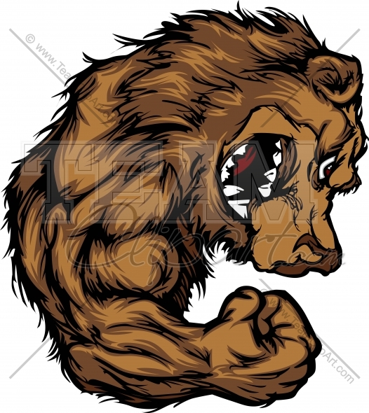 Bear clipart vector. Grizzly pencil and in