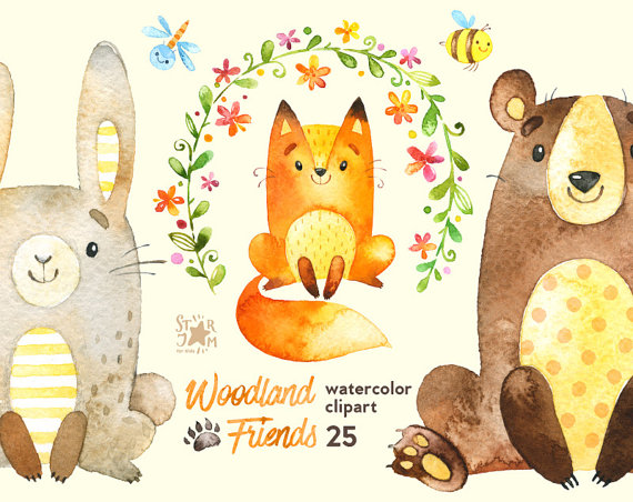 Bear clipart watercolor. Woodland friends animals forest