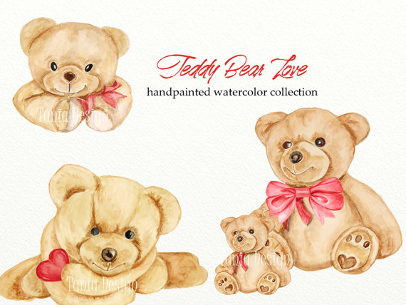 Teddy love valentines romantic. Bear clipart watercolor