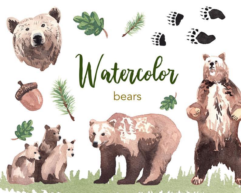 Clipart bear watercolor. Watercolour set commercial use